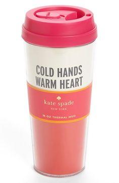 Cold hands thermal travel mug.