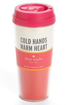 Cold hands thermal travel mug.