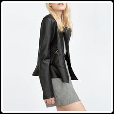 HP ZARA Faux Leather Jacket w/ Peplum Details Zara Faux Leather Peplum Jacket. Brand new.                                                                                                           OUTER SHELL BASE FABRIC: 100% polyester COATING: 100% polyurethane  LINING 100% polyester ❌TRADES ❌PAYPAL  POSH RULES  Zara Jackets & Coats