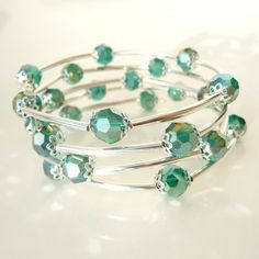 Teal Swarovski Bracelet Spiral Wrap Bangle