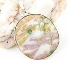 Ocean Jasper Madagascar #pendant  Sterling #pink  White Green Artisan #Jewelry