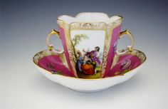 Antique 19c Meissen Elaborate Bullion Cup and Saucer Romantic Scenes NoReserve