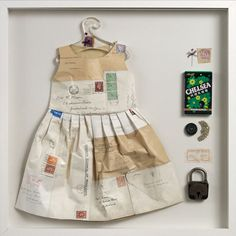 ℘ Paper Dress Prettiness ℘ art dress made of paper by Jennifer Collier Paper Fashion, Fashion Art, Fashion Collage, Paper Clothes, Paper Dresses, Mini Dresses, Barbie Clothes, Onesie Quilt, Jennifer Collier