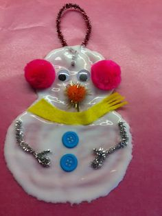 Glue snowman craft (Rockabye Butterfly) - white glue, wax paper white or clear glitter, pom poms, buttons, yarn, pipe cleaners, paper, wiggly eyes - let dry for 1 or 2 days before peeling from wax paper