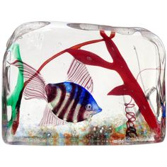 Murano Silver Striped Fish and Coral Italian Art Glass Aquarium Sculpture | From a unique collection of antique and modern sculptures at https://www.1stdibs.com/furniture/decorative-objects/sculptures/