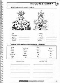 Masculino y femenino. Spanish Grammar, Spanish Vocabulary, Spanish Language Learning, Teaching Spanish, Spanish Notes, Spanish 1, Spanish Worksheets, Spanish Activities, Elementary Spanish