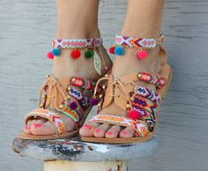"""sandals, gladiator leather sandals, friendship bracelets, pom pom sandals """"Betty Boop"""" by DimitrasWorkshop"""