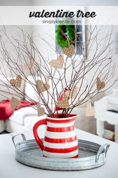A Valentine Tree {simple Valentine's Day decor}