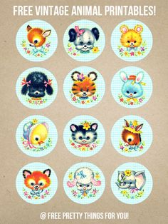 Kitschy: Baby Animal Printables – Blue Version! - Free Pretty Things For You