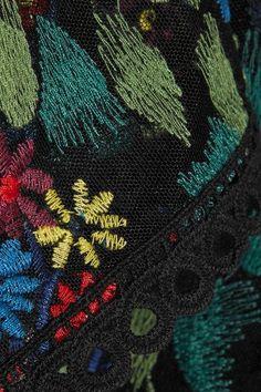 Saloni - Elsa Lace-trimmed Embroidered Tulle Top - Black - UK