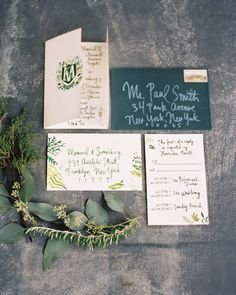 The entire suite was designed by the bride: A gatefold invite, graced by a family crest, shared info on the rehearsal dinner, ceremony, and next-day brunch.