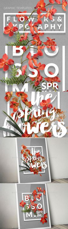 Flowers & Typography Mock-up - Miscellaneous #Backgrounds Download here: graphicriver.net/...