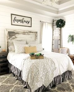 Rustic farmhouse style master bedroom ideas (48)