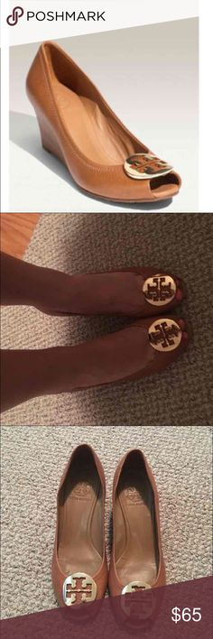 Tory Burch peep toe wedge heel Sooooo cute they are too small on me or I would keep! Perfect practical heel height - couple nicks pictured on heels not noticeable Tory Burch Shoes Wedges