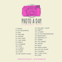 Slimming Challenge Photo A Day Challenge // February 2016 - Fat Mum Slim - Want to get creative together? Join us for the February Photo A Day Challenge! It's super easy and will change the way you think each day. Photography Challenge, Photography Basics, Photography Lessons, Photography Projects, Creative Photography, Digital Photography, Photography Poses, Product Photography, Landscape Photography