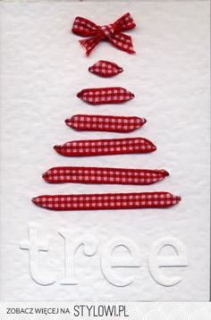 Christmas Card - A simple yet high impact design. Ribbon threaded through cardstock to create a tree shape.