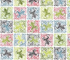 This designer has a whole collection of cheater quilts. With a lot of variety! Dancing Frog fabric by spellstone on Spoonflower - custom fabric