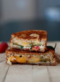 Jalapeno-Popper-Grilled-Cheese-Sandwich   4 Jalapenos (small)  1 Tbsp Cream Cheese  ½ Tbsp Ranch Dressing  1-2 Tbsp Chives (chopped)  Dehydrated Tomato (two slices)  Cheese  Butter  Bread