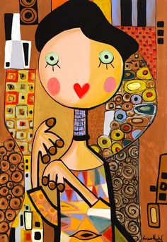 LM.034 Adele Bloch Bauer Klimt 51x74 Cartoon Painting, Doll Painting, Kunstjournal Inspiration, Art Journal Inspiration, Arte Pop, Luciano Martins, Karla Gerard, Puzzle Art, Art Drawings For Kids