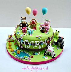 Super cute farmyard cake by Pretty Witty Cakes.