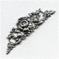 Large Rose Theme 69mm Stampings Oxidized Silver (1)