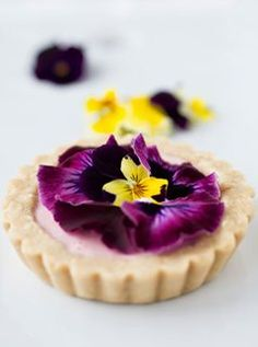 Strawberry and Pansy Tart