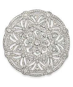 AN EARLY 20TH CENTURY DIAMOND BROOCH  Of circular form, the central old and rose-cut diamond flowerhead motif to the similarly-set star shaped border and scalloped surround with linear outer frame, circa 1915, 5.9cm wide