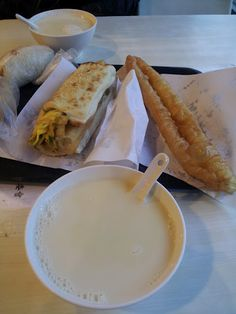 traditional Taiwanese breakfast: carbs and soy milk.