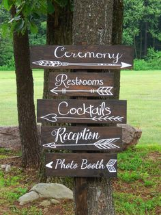 These beautifully painted outdoor wedding directional signs with arrows are truly one of a kind. They are painted on solid pine wood in a stain color of your choosing. Show your guests the direction of each event, where to find refreshments, or the location to the restrooms so they can spend less time searching and more time celebrating! These would look especially lovely in as garden wedding decor, boho wedding decor, or rustic wedding decor. Visit our shop today to purchase.