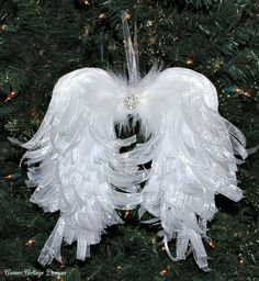 DIY Angelic Organdy Ribbon Angel Wings - I love angel wings and I got this itch to try to make some of my own for decorations on my Christmas tree. I had this v…