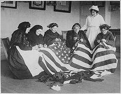 Patriotic Old Female Immigrants Sewing an American Flag under Supervision of Instructor Rose Radin Premium Photographic Print Old American Flag, American Pride, American History, History Images, Women In History, History Pics, Old Photos, Vintage Photos, Vintage Clip