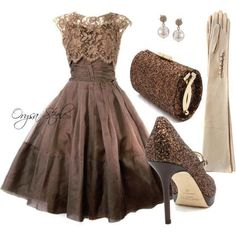 Party attire -  love the sleeveless look with the long gloves