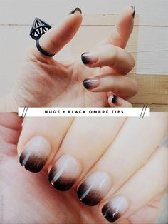 nude + black ombré Calgel manicure - I never paint my nails but this looks creepy enough for Halloween! Love Nails, How To Do Nails, Pretty Nails, My Nails, Chic Nails, Black Ombre Nails, White Ombre, Black White, Black Swan