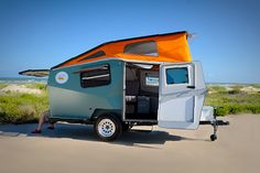 Cricket self-contained pop-up camper. Part tent, part RV, NASA inspired, weighing between & pounds the Cricket can easily be towed by a car as small as a Subaru Outback! How awesome! Cricket Trailer, Pop Up Trailer, Eco Trailer, Small Trailer, Teardrop Trailer, Trailer Hitch, Vw T3 Syncro, Fifth Wheel Trailers, Living On The Road
