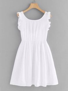 Shop Frill Trim Knot Back Dress online. ROMWE offers Frill Trim Knot Back Dress & more to fit your fashionable needs. Girly Outfits, Dress Outfits, Summer Outfits, Fashion Dresses, Cute Outfits, Summer Dresses, Fashion Styles, Dress Clothes, Fashion Ideas