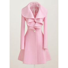 Rotita Pink Turndown Collar Single Breasted Long Coat ($32) ❤ liked on Polyvore featuring outerwear, coats, jackets, pink, longline coat, wool coat, pink wool coat, print coat and long woolen coats