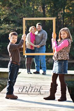 Would be cute for grandparents to hold the frame, and all grandkids standing in the frame.
