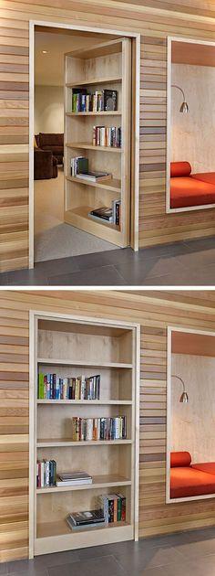 18 Trendy ideas secret door hidden rooms bookshelves - Image 16 of 21 Secret Door Bookshelf, Bookcase Door, Bookshelf Closet, Bookshelf Ideas, Hidden Spaces, Hidden Rooms, Door Design, House Design, Small House Decorating