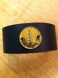 Vintage Chanel Button Leather Cuff Bracelet