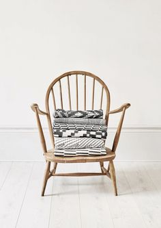 Woven throws on a vintage Ercol chair. Photographed by Yeshen Venema. Ercol Chair, Jacquard Weave, Monochrome, Cabinet, Storage, Vintage, Furniture, Design, Home Decor