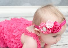 Hot pink Baby Headband, Baby hair bow, flower headband, newborn headband, Satin Rosette headband, Baby girl Headbands, toddler headband on Etsy, $10.95