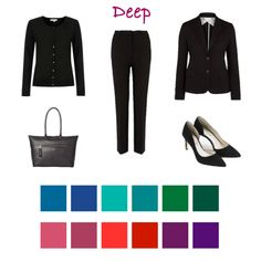 Black as a neutral for Deep colouring but could be as well dark navy, charcoal. Taupe could be used for accessories.