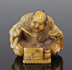 Buy online, view images and see past prices for Japanese Meiji period ivory netsuke, carved as a man smoking from a pipe an. Invaluable is the world's largest marketplace for art, antiques, and collectibles. Lucky Symbols, Traditional Japanese Art, Turning Japanese, Japanese Characters, Man Smoking, Kokeshi Dolls, Bone Carving, Ivoire, Archaeology