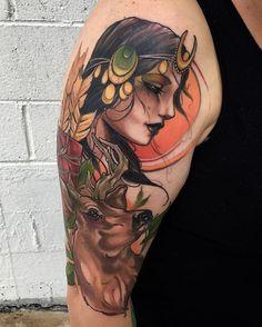 • Finished this Goddess Artemis. Thank you Gina. #matttischlertattoo #newtraditionaltattoos #danapointtattoo #neotraditionaltattoo #skinartmag #tattooistartmag #ohanaorganics