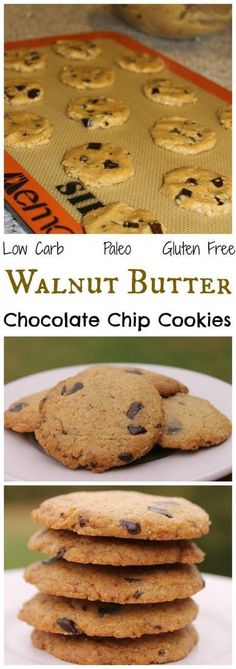 These delicious flourless walnut butter chocolate chip cookies are low carb, gluten free, and paleo friendly. So unbelievably good, it may be difficult to refrain from eating the whole batch. Atkins, Flourless Chocolate Chip Cookies, Paleo Chocolate, Chocolate Chips, Cake Pops, Walnut Butter, Cashew Butter, Low Carb Deserts, Dieta Low
