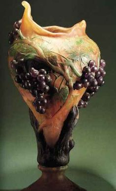 Daum Frères, Applied, Acid Etched and Wheel Carved Glass Vase.