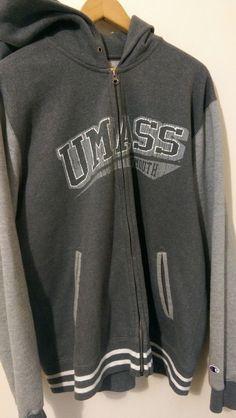 Mens Champion UMASS Dartmouth Size XL Full Zip Hoodie Gray Massachusetts