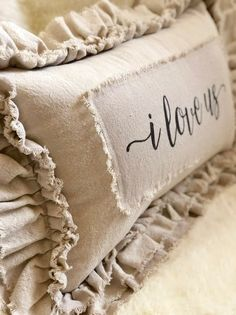 Canvas Custom Pillows Cover with Sayings Case w Ruffles I Love Us Handmade French Country Farmhouse Modern French Country, French Country Bedrooms, French Country Farmhouse, French Country Decorating, Country Décor, French Country Bedding, Bedroom Country, Vintage Country, Custom Pillow Cases