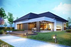 Decorating Your American Bungalow Style House Modern Style Homes, Modern House Design, Bungalow Style House, One Storey House, Facade House, Home Fashion, Exterior Design, Modern Architecture, House Plans