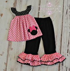 This listing is for an adorable Pink and Black Minnie Mouse inspired Outfit. The sweet Pink and black top has adorable ruffle sleeves accented with